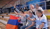 President Armen Sarkissian attends Arthur Davtyan's competition at Tokyo Olympic Stadium