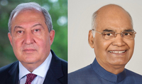 President Armen Sarkissian sent a congratulatory message on India's national holiday, Independence Day