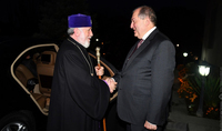 President Armen Sarkissian congratulated the Catholicos of All Armenians on his 70th birthday