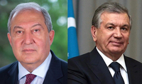 Le Président Armen Sarkissian a félicité le Président de l'Ouzbékistan à l'occasion du 30ème anniversaire de l'Indépendance du pays