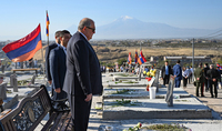 President Armen Sarkissian paid tribute to the memory of the heroes who fell for the independence and defense of the Motherland at Yerablur Pantheon