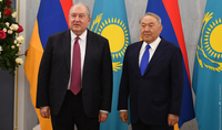 First President of Kazakhstan Nursultan Nazarbayev sent a congratulatory message to President Sarkissian
