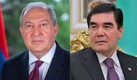Президент Армен Саркисян поздравил с Президента Туркменистана Гурбангулы Бердымухамедова с национальным праздником