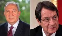 President of the Republic Armen Sarkissian congratulated the President of Cyprus Nicos Anastasiades on his 75th birthday