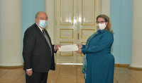The newly appointed Ambassador of the Kingdom of Norway to Armenia Helene Sand Andresen presented her credentials to President Armen Sarkissian