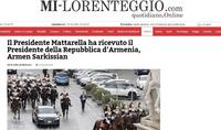 """""""L'Arménie est un partenaire important"""". La presse italienne a largement couvert la première visite d'État du Président arménien en Italie"""