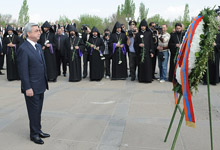 On the 97th anniversary of the Armenian Genocide, Serzh Sargsyan visited the Tsitsernakaberd Memorial