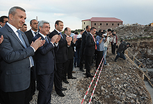 Serzh Sargsyan  at Avan participated at the groundbreaking ceremony of the apartment building, which will be constructed in the framework of social program