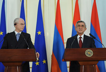 Serzh Sargsyan and the President of the European Council recapped the results of the negotiations at the joint press conference given for the representatives of the mass media