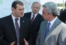 Президент ознакомился с ходом дорожно-строительных проектов в Ереване в 2012 году