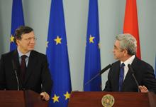 Заявление Президента Сержа Саргсяна о результатах встречи с Председателем Европейской Комиссии Жозе Мануэлем Баррозу во время встречи с представителями СМИ