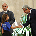 President Serzh Sargsyan meets with the pupils who received awards at the international subject Olympiads in 2011, laureates of the We are the Masters of our Independence essay competition and winners of the International Kangaroo Math competition-game-29