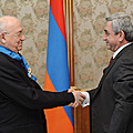 President Serzh Sargsyan decorates the famed football player Nikita Simonian with the Order of Honor-25.03.2011