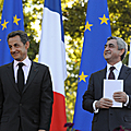 President Serzh Sargsyan and President Nikola Sarkozi after his speech at the French Square in Yerevan