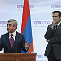 President Serzh Sargsyan makes a statement at the joint press conference with the President of Georgia Micheil Sahakashvili-29.11.2011