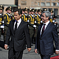 President Serzh Sargsyan welcomes in the airport the President of France Nicolas Sarkozy, who arrived to Armenia on a state visit