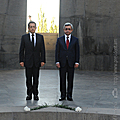 President Serzh Sargsyan and the President of France Nicolas Sarkozy, who is in Armenia on a state visit, after the ceremony of wreath-laying at the Memorial dedicated to the victims of the Armenian Genocide