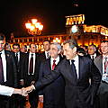 Presidents of Armenia and France during the night walk on the Republic Square in Yerevan-06.10.2011