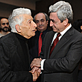 President Serzh Sargsyan and the USSR People's Artist Edward Mirzoyan at the Talents of Armenia-2010 event-31.01.2011