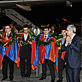 President Serzh Sargsyan with the Armenian Chess team-a three-time Olympian Champions