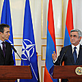 President Serzh Sargsyan and Secretary General of NATO Anders Fogh Rasmussen make a statement for the representatives of the mass media in Yerevan