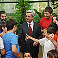 President Serzh Sargsyan meets with the participants of the 5th Pan-Armenian Olympiad and students of the Luys Foundation in Tsakhkadzor-25.07.2011