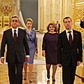 President Serzh Sargsyan and Mrs. Rita Sargsyan with the RF President Dmitry Medvedev and Mrs. Svetalana Medvedeva in the Kremlin Palace during his state visit to the Russian Federation