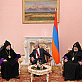 President Serzh Sargsyan meets with the Catholicos of All Armenians Garegin II and Catholicos of the Great House of Cilicia Aram I at the Presidential Palace