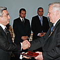 President Serzh Sargsyan is decorating the member of the Council of the Federation of the RA Federal Assembly Nikolay Ryzhkov with the highest title of the land – the National Hero of Armenia-06.12.2008