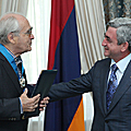 President Serzh Sargsyan is decorating Michel Legrand with the Order of Honor of Armenia-15.09.2009