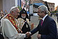 President Serzh Sargsyan, Catholicos of All Armenians and His Holiness Pope Francis at the Ecumenical event which took place at Republic Square in Yerevan