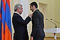 President Serzh Sargsyan awards football player Henrikh Mkhitaryan with the Order for Services to Motherland