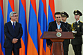 President Serzh Sargsyan and chess international grand master Levon Aronian at the reception held by the President of Armenia for the members of the Armenian chess team which three times won the World Chess Olympiads