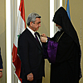 President Serzh Sargsyan during his official visit to Lebanon is decorated with the Cilician Cross - the highest award of the Catholicosat - by His Holiness Aram I, Catholicos of the Great House of Cilicia in Antelias