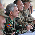 President of Armenia, Commander-in-Chief Serzh Sargsyan during visit to the NKR defense positions familiarizes with the combat readiness of the troops and army building activities