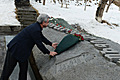 RA Presidential candidate Serzh Sargsyan at the birth place of Paruyr Sevak, Zangagatun village places flowers at the tomb of the poet