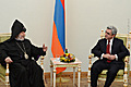 President Serzh Sargsyan and His Holiness Catholicos of All Armenians Garegin II meet at the RA Presidential Palace
