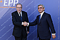 President of Armenia, Chairman of the Republican Party of Armenia Serzh Sargsyan and the President of the European People's Party Wilfried Martens at the Summit of the EPP leaders in Yerevan