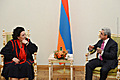 President Serzh Sargsyan meets with the renowned opera singer Montserrat Caballé at the Presidential Palace