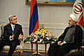 President Serzh Sargsyan at the meeting with the newly-elected President of Iran Hasan Rouhani in Tehran