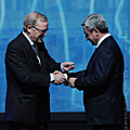 At the plenary meeting of the 20th Congress of the European People's Party, President Serzh Sargsyan receives the Party badge from the EPP Chairman Wilfred Martens– 07.12.2011