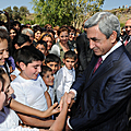 President Serzh Sargsyan meets with the parents and relatives invited to the oath taking ceremony of the Little Mher cadets-14.09.2011