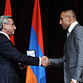 President Serzh Sargsyan and the boxer Arthur Abraham at the reception invited by the President of Armenia on the occasion of the 20th anniversary of Armenia's independence at the A. Spendiarian National Academic Opera and Ballet Theater of Armenia-