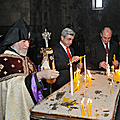 President Serzh Sargsyan and Catholicos of All Armenians Garegin II after the inauguration ceremony of the Tatev aerial cableway in Tatev Monastery-16.10.2010