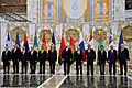 President Serzh Sargsyan poses for a photograph at the end of the session of the CIS Council of Heads of State in Minsk