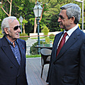 President Serzh Sargsyan and Sharl Aznavour  at the ceremony of opening Aznavour's residence in Yerevan-07.10.2011