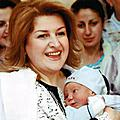 On the occasion of Motherhood and Beauty Day First Lady Rita Sargsyan visited Yerevan's birth clinics. First Lady presented 200 newborns with the crosses blessed at Holy Etchmiadzin and the Bibles for Children. During the tour the First Lady of Arme