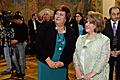 Armenia's First Lady Rita Sargsyan and Poland's First Lady Anna Komorowska at the National Picture Gallery of Armenia