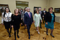 RA President Serzh Sargsyan, First Lady Rita Sargsyan and Poland's First Lady Anna Komorowska at the National Picture Gallery of Armenia