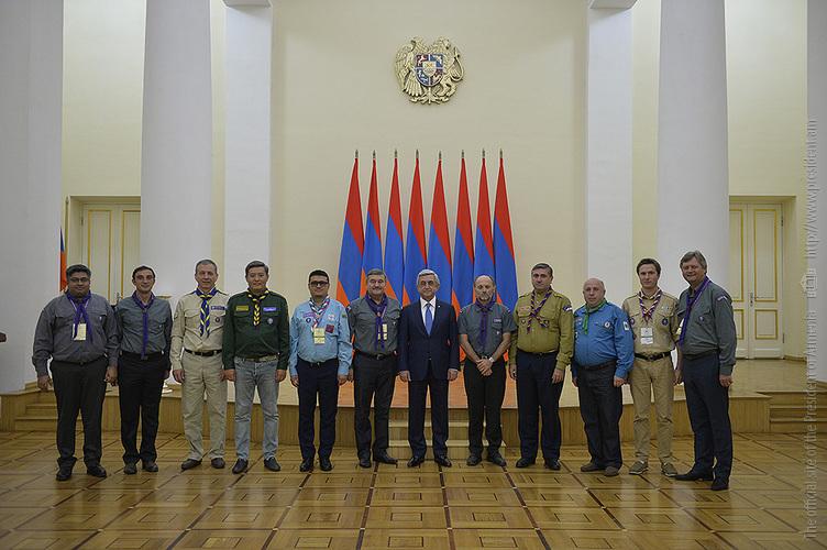 Серж Саргсян принял делегацию Всемирного скаутского движения